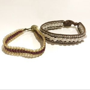 Two Beaded AEO Bracelets Button Closure